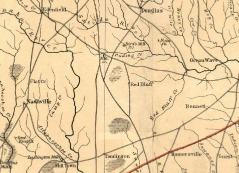 1865 Map Detail (parts of Berrien, Coffee, and Clinch Counties)