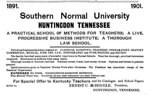 Advertisement for Southern Normal University, 1901.