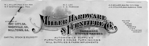 C.S. Parham appeared on the letterhead of Miller Hardware & Furniture Company in the 1920s.
