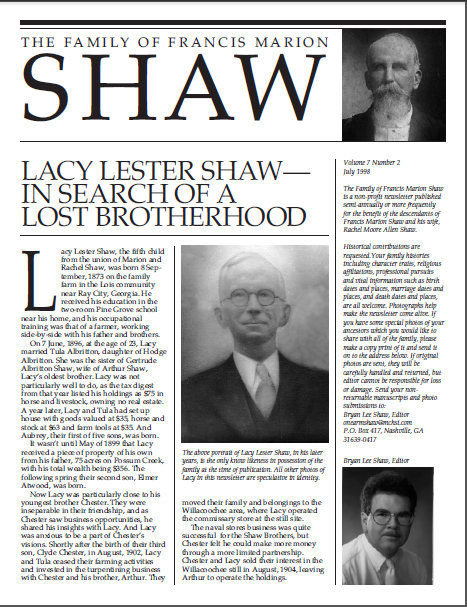 Lacy Lester Shaw - In Search of a Lost Brotherhood