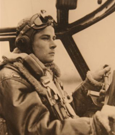 James A. Swindle at the controls of the B-26 Marauder.