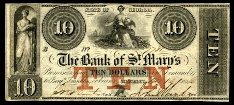 1840 ten dollar note, Bank of St. Mary's