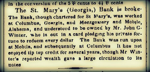 April 28, 1852  New York Daily Times reports the Bank of St. Mary's is broke.