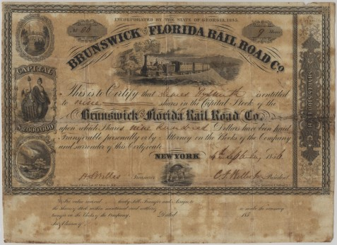 Brunswick & Florida Railroad Stock Certificate, issued September 4, 1856