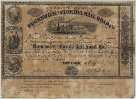 Brunswick & Florida Railroad Stock Certificate, issued September 4, 1856