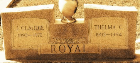 Grave of James Claudie Royal and Thelma Cole Royal, Beaver Dam Cemetery, Ray City, GA.