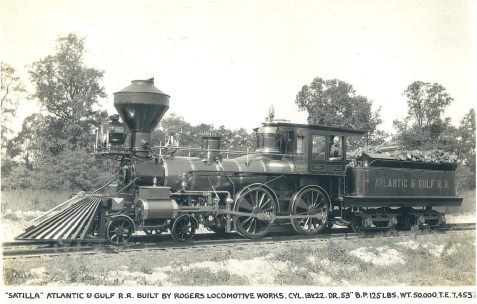 Slaves began laying the track of the Atlantic & Gulf at Tebeauville, GA in 1859, heading west. The first engine to roll down the track into Valdosta was the Satilla, Engine No. three of the Savannah, Albany & Gulf Railroad - the Satilla was the third locomotive acquired by the S,A&G. The Satilla arrived in Valdosta on July 4, 1860. The Satilla was the