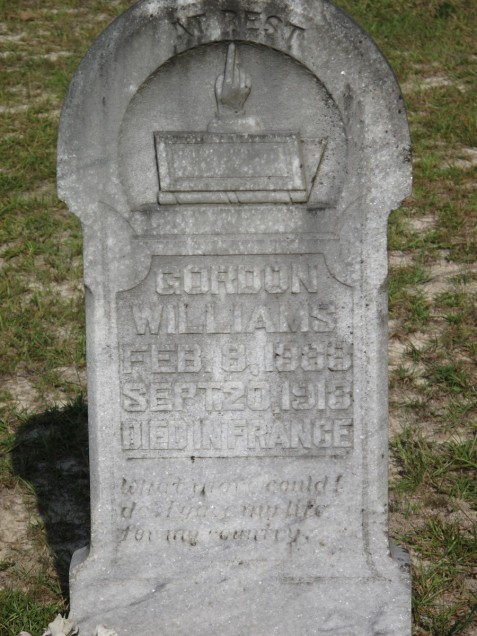 Grave of Gordon Williams. Mount Pleasant Cemetery, Berrien County, GA. Image source: Charles T. Zeigler