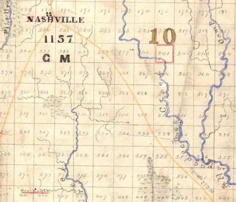 Enhanced detail of 1869 map of Berrien County, GA land lots in the 10th Land District, showing relative locations of Nashville, GA, Land lot 241, and homeplace of Levi J. Knight. Comparison with modern maps shows that the placement of rivers and streams is clearly distorted. Furthermore, this map shows General Knight's place located west of Cat Creek, when historical accounts indicate that the Knight homestead was east of the creek.