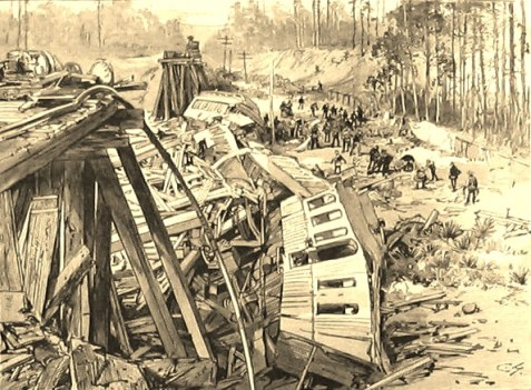 The Railroad Disaster to the West India Mail Near Blackshear, Georgia, an engraving from a photograph published in Harper's Weekly, March 1888.