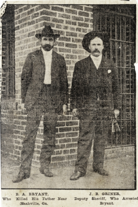 J. B. Griner, Berrien County deputy sheriff with prisoner B. A. Bryant, who killed his father near Nashville, Georgia, 1906. From a newspaper clipping. Image courtesy of http://berriencountyga.com/