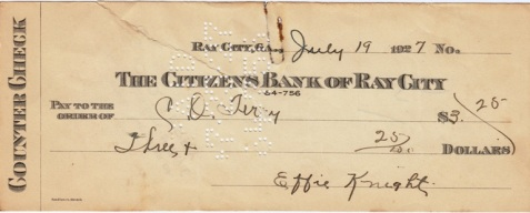 1927 check written by Effie Knight to C.O. Terry, and drawn on the Citizens Bank of Ray City.
