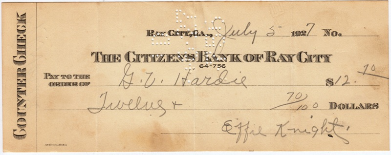 Folsom family ray city history blog a check made out july 5 1927 to gv hardie in the amount of twelve ccuart Images