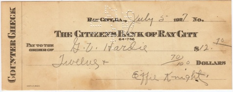 A check made out July 5, 1927 to G.V. Hardie in the amount of twelve dollars and seventy cents, and drawn on the account of Effie Knight at The Citizens Bank of Ray City.