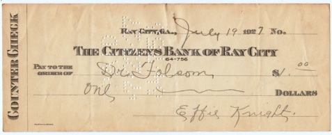 1927 check drawn on the Citizens Bank of Ray City and made payable to Dr. Folsom.