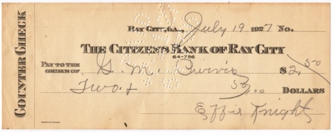 Check drawn on the Citizens Bank of Ray City in payment to G. M. Purvis, made out in the amount of two dollars and fifty cents, and signed by Effie Knight.