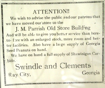 Swindle and Clements 1929 newspaper advertisement from the Ray City News