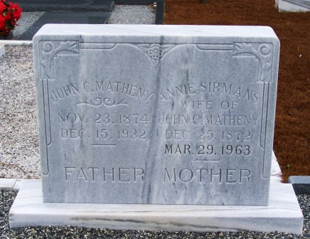Grave marker of Annie B. Sirmans and John Chilton Matheny, Empire Cemetery, Berrien County, GA