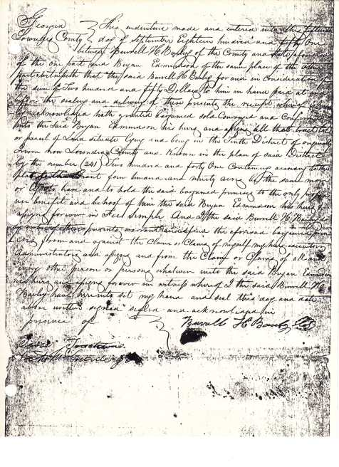 Burrell Hamilton Bailey 1851 land transaction with Bryan Edmondson, Lowndes County, GA (now Berrien County). Image courtesy of Phil Ray.
