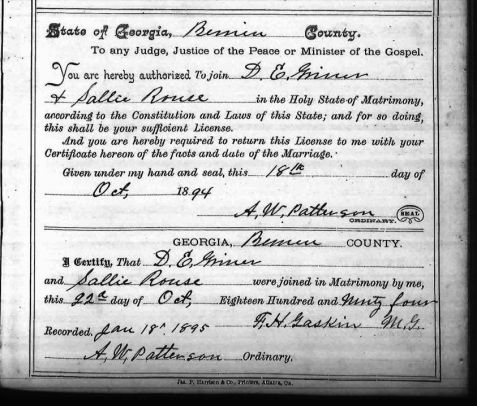 D. Edwin Griner and Sallie Rouse were married October 22, 1894 in Berrien County, GA.