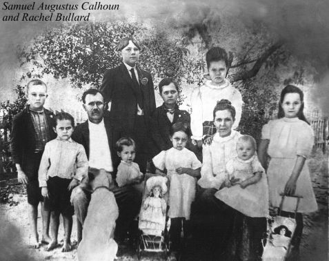 Rachel Bullard and Samuel Augustus Calhoun family, circa 1913.  The Calhouns were living in Ray City, Berrien County, GA during this time.