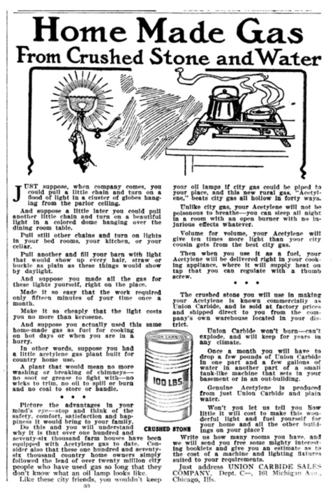 Union Carbide advertisment, Farm Journal, 1910