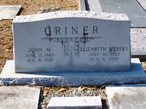 Elizabeth Meyers and John M. Griner, New Ramah Cemetery, Ray City, Berrien County, Georgia