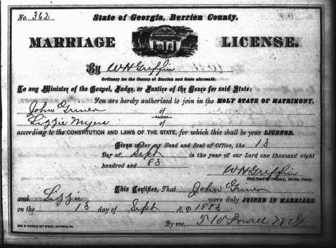 John Griner and Lizze Meyers marriage Certificate, September 13, 1883, Berrien County, GA