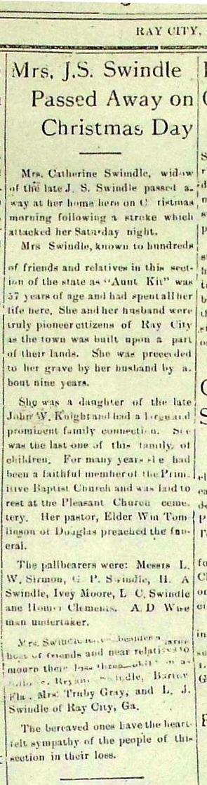 Catherine Swindle (1872-1928) obituary, Ray City News, Ray City, GA