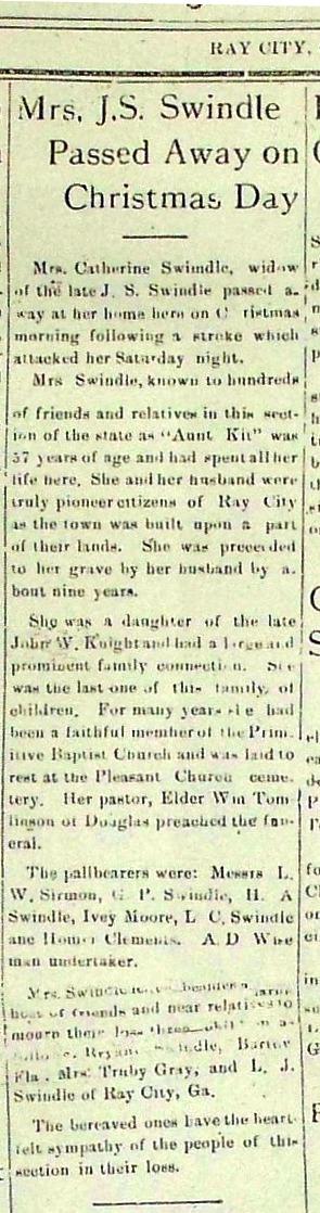 Catherine Swindle (1872-1928) obituary, Ray City News, Ray City, GA