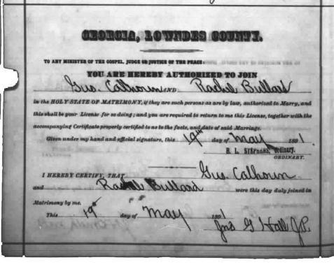 Samuel Augustus Calhoun and Rachel Bullard marriage certificate, 1891, Lowndes County, GA.