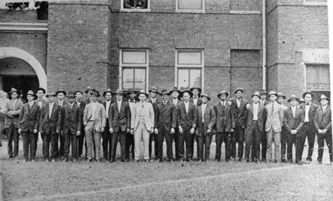 WWI Inductees at Nashville, GA Courthouse, 1918.