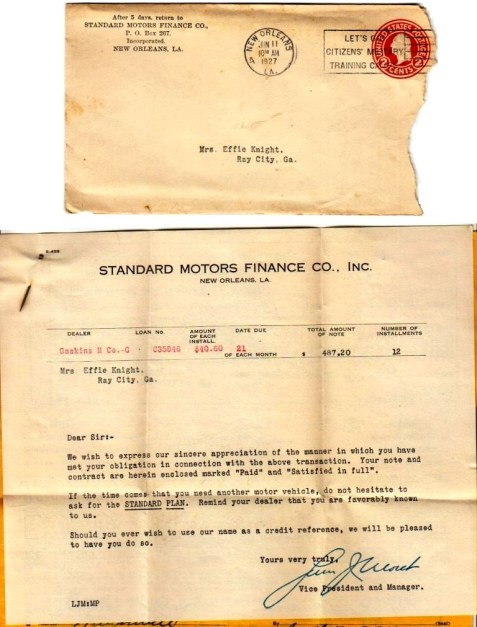 Standard Motor Company correspondence to Mrs. Effie Knight, June 11, 1927. Letter of debt satisfaction. Papers of Effie Guthrie Knight.