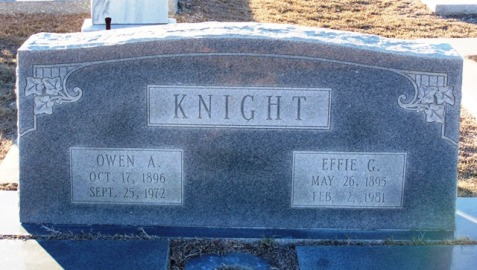 Effie Guthrie Knight and Owen Adrian Knight, Beaver Dam Cemetery, Ray City, GA