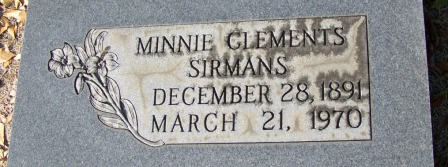 Grave of Minnie Clements Sirmans