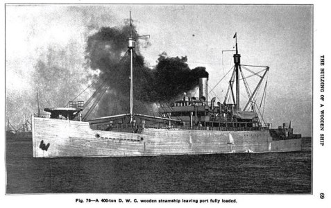 During World War I, Southern yellow pine was the most abundant of all ship materials and was extensively used in building wood ships along the Atlantic and Gulf Coasts.