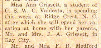 1948 Ann Grissett at Georgia State Womans College