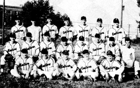 "Eastern Kentucky University Baseball Team, 1949. First Row: Left to Right--Capt. Pete Nonnemacher, Roger Parsons, Jimmy Cinnamon, Dick Scherrbaum, Mac McCarty. Second Row: Left to Right--Lonnie Nelson, Howard Bartlett, Charles combs, Luther Wren, J. I. Clements, Jim Thompson, Coach ""Turkey"" Hughes, Manager Charles Spicer. Third Row: Left to Right--Don Newsom, Ted Dunn, Ed Lewicki, Ray Giltner, Goebel Ritter, Carl Eagle, Jack Meeks."