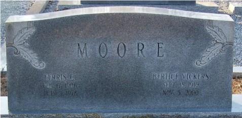 Ferris G. Moore and Bertice Vickers Moore, New Ramah Cemetery, Ray City, Berrien County, Georgia