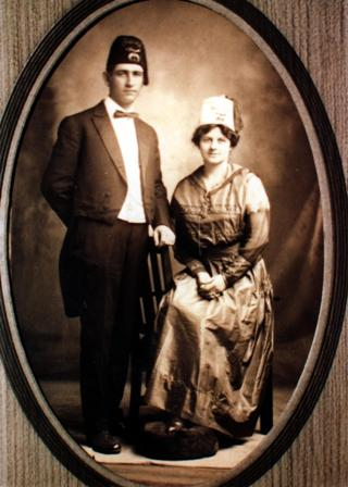 Lucius Jordan Clements and Eugenia Watkins Clements in Masonic garb.