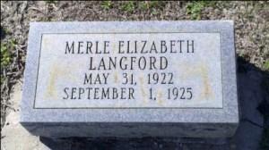 Merle Elizabeth Langford, Beaver Dam Cemetery, Ray City, Berrien County, GA.