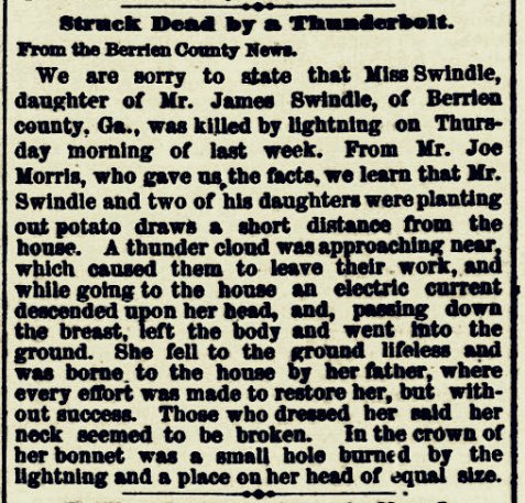 Death of Catherine Ardella Swindle, of Rays Mill, GA reported in the Washington (DC) Evening Star, May 30, 1882, Page 8.