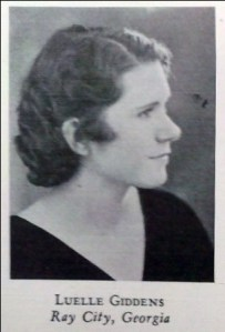 Louelle Giddens, 1933, Georgia State Womans College, Valdosta, GA