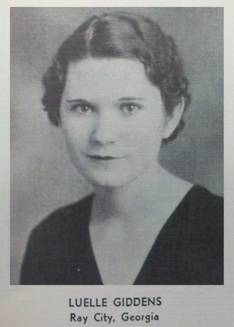 Louelle Giddens, 1934, Georgia State Womans College, Valdosta, GA