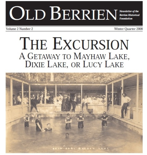 Berrien Historical Foundation Newsletter front page depicting the swimming pool at Mayhaw Lake, Ray City, GA.