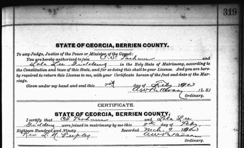 Marriage Certificate of Charles S. Parham and Lola Lee Giddens,  February 8 1903, Berrien County, GA.