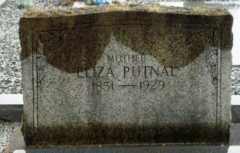 Eliza Putnal, gravemarker, Beaver Dam Cemetery, Ray City, GA.