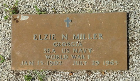 Grave of Elzie Nathaniel Miller, New Ramah Cemetery, Ray City, GA