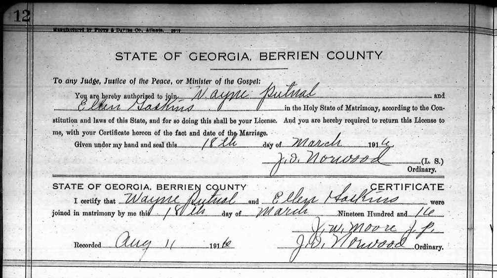 ... Putnal and Ellen Gaskins, 1916 Marriage License, Berrien County, GA