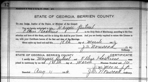 Wayne Putnal and Ellen Gaskins, 1916 Marriage License, Berrien County, GA